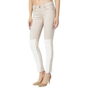 Paige cream zipper skinny  jeans